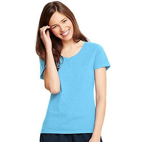 Hanes Women's X-Temp® V-Neck T-Shirt 2XL Blue