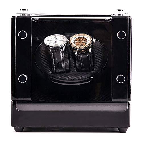 Dubbele doos Carica horloge hout acryl raam zwart carbon vezel motor stille opslag display box voor horloges leer kunststof LED