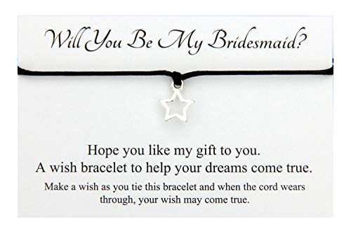 Will You Be My Bridesmaid Hollow Star Charm wish bracelet,Hen Party favour Team Bride (Black)