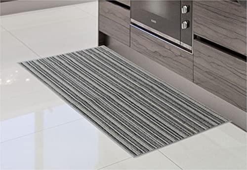 Alfombra de Cocina de Textil Resistente, Lavable   Base PVC Antideslizante y Aislante Diseño Clasico Color (Gris, 57_x_290_cm)