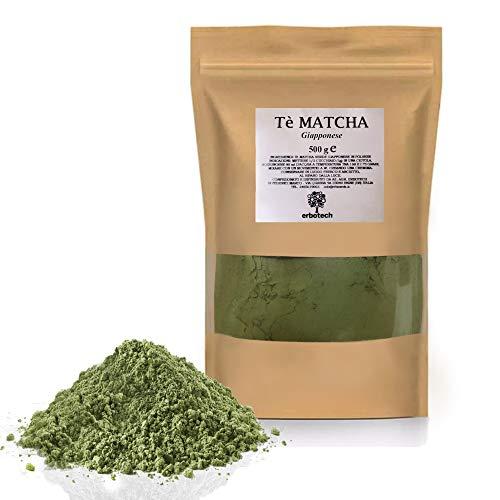 ERBOTECH Matcha Tee / Japanisches Grüntee Pulver 500 g, 100% natürliches Multivitamin, Premium Qualität, Vegan, Made in Italy. Ideal für Kuchen, Smoothies, Eistee