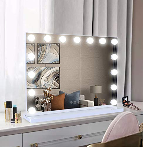 Vanity Makeup Mirror Hollywood Mirror with Dimmable LED lights 80x62cm