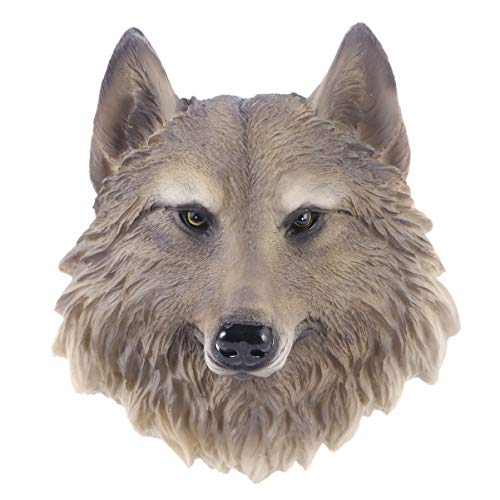 VOSAREA Animal Head Wall Decoration Cute Wolf Head Statue Wall Hanging Sculpture Home Office Decoration