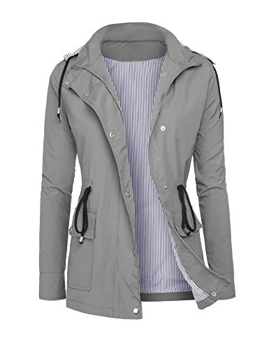 DOSWODE Raincoats Women Waterproof Rain Jackets Detachable Hooded Striped Lined Windbreaker for Women Grey L