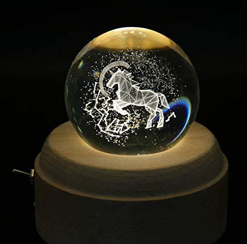 Giow Luces Fairy Led Light Dormitorio Navidad Batería Cadena Mirrorstar Unicorn Lights 3D Crystal Ball Music Box