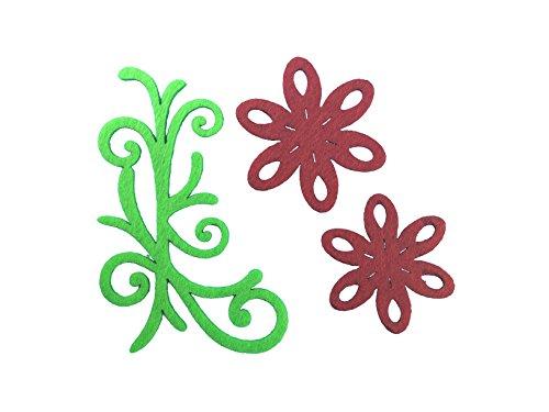 Petra S Kit Creativo News a vif1530F28Feltro Fiori Set 3Diversi Designs, 30Pezzi, in Feltro Colore: Rosso/Verde Mela