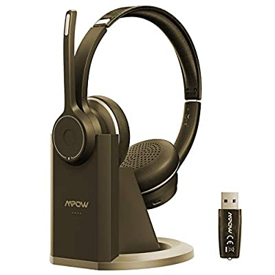 Mpow V5.0 Bluetooth Headset with Mic, Dual Noise Cancelling Microphone for Clear Call, All Day Comfort Truckers Headsets for Long Hual, Over The Head Bluetooth Earpiece for Cell Phone(Wired Option) from Mpow