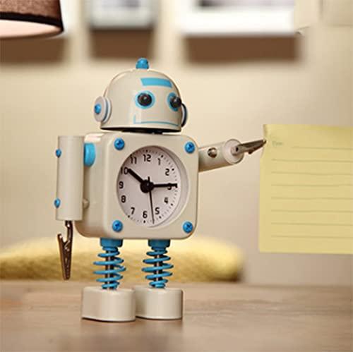 LIUHUIJUN Robot De Metal Reloj Despertador Estudiante con Niños De Dibujos Animados...