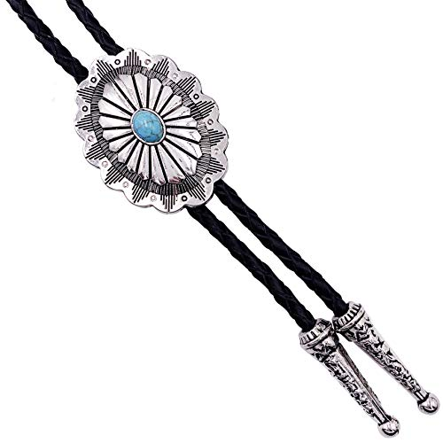 SELOVO Vintage Style Western Celtic Knot Blue Silver Tone Bolo Tie