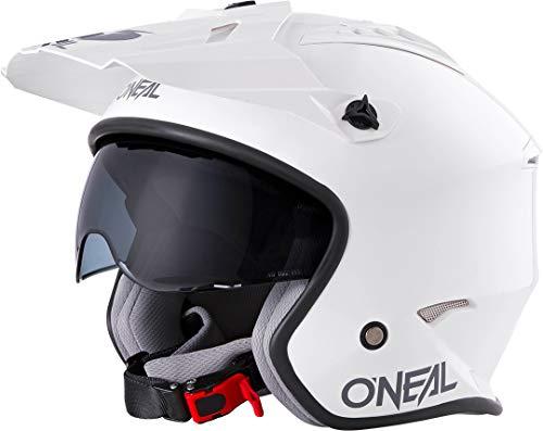 O'NEAL | Casco de Motocicleta | Motocicleta de Enduro | Estándares de Seguridad ECE 22.05, Casco ABS, Visera Solar integrada | Casco Volt Solid | Adultos | Blanco | Talla S
