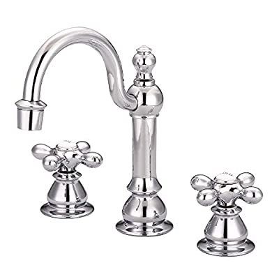 Water Creation | Bathroom Faucet with Chrome Finish | American 20th Century Classic Adjustable Widespread Lavatory Sink Faucets with Pop-Up Drain, Metal Cross Handles, and Hot/Cold Labels