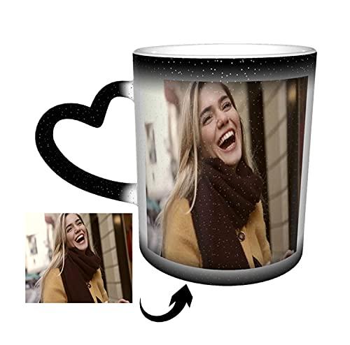 Tasse Personalisiert,Magic Kaffeetassen Mit Foto Thermoeffekt Personalisierte Eigenes Foto Geschenke Für Besten Freund Weihnachte Geburtstags Geschenk schwarz