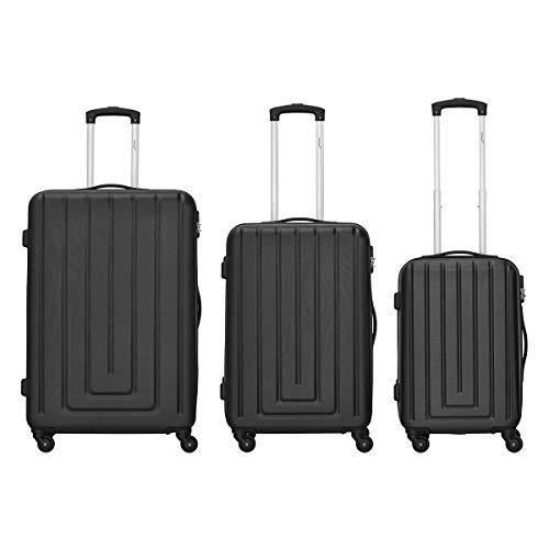 Packenger Kofferset - Razor - 3-teilig (M, L & XL), 4 Rollen, Koffer mit Zahlenschloss, Hartschalenkoffer (ABS) Robuster Trolley Reisekoffer (Schwarz)