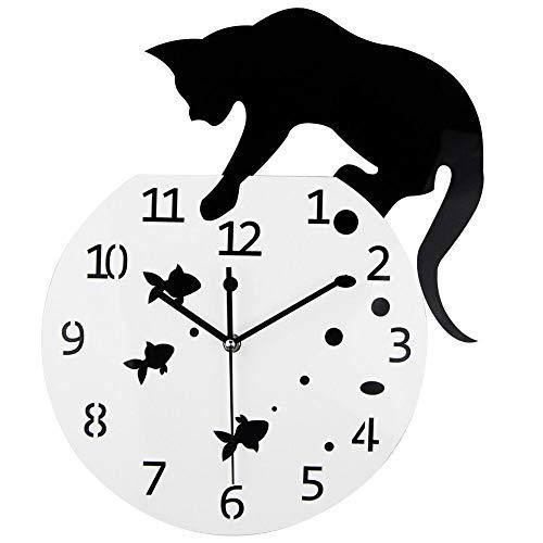 Freedomanoth Acryl Wanduhr Stille Cartoon Nette Klettern Katze Uhr Ohne Tickgeräusche Lautlos Wall Clock Wandaufkleber Home Decor
