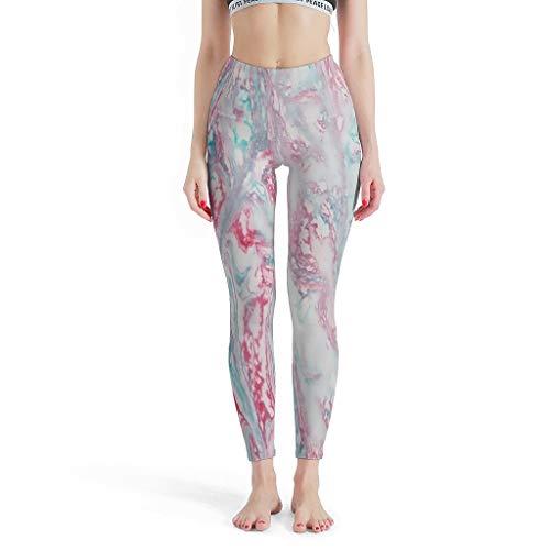 FFanClassic Leggings Deportivos Textura Mármol Mujer Botín - Pantalones Deportivos para Yoga Blanco 2XL