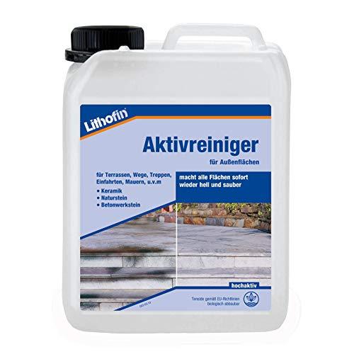 Lithofin Aktivreiniger 2,5 l - Geeignet für alle Außenflächen aus Keramik, Naturstein und Betonwerkstein
