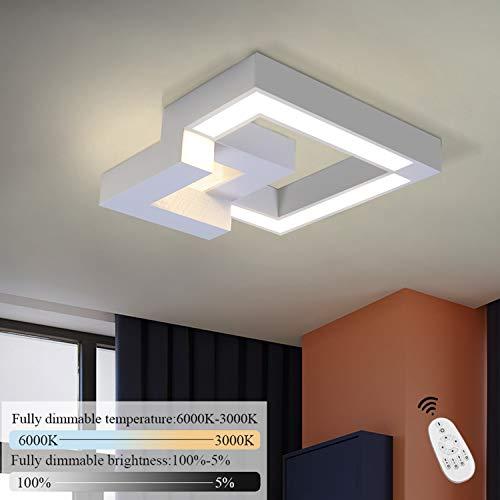 ZMH LED Deckenlampe Wohnzimmer Deckenleuchte Schlafzimmer Wohnzimmerlampe 32W Dimmbar farbwechsel mit Fernbedienung Eckig für Küchen Badezimmer Kinderzimmer