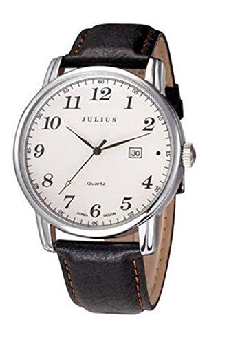 Julius JA-508MA Herren-Armbanduhr Easy Reader arabische Ziffern Quarz Analog mit schwarzem Lederband