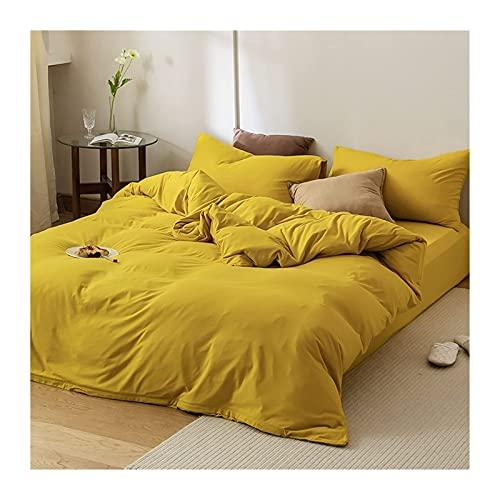 Edredón / edredón de Punto de Clase A 100% algodón con sábana Ajustable Juego de 4 Piezas Juego de sábanas de Cama de Color sólido / Completo (Color: Amarillo A, Tamaño: 200x230-180x200cm)