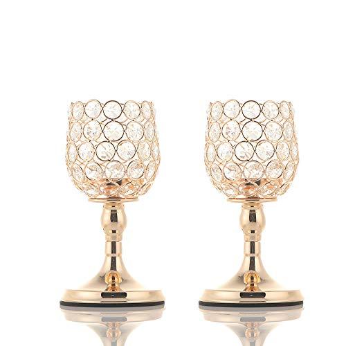 VINCIGANT Candelabros Cilindro de Oro Portavelas de ofrenda de luz de Té de Cristal para Boda Mesa de Centro Centros de Mesa Decorativos/Regalos para Celebración Juego de 2