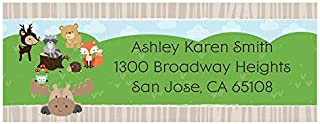 Custom Woodland Creatures - Personalized Baby Shower or Birthday Party Return Address Labels - Set of 30