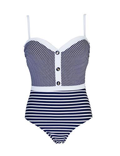 Mermaid Badeanzug für Damen im Mariner-Stil, Mehrfarbig 46