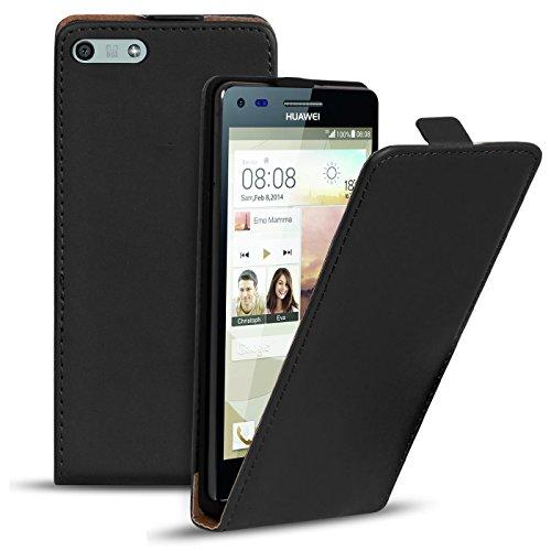Conie BF11767 Basic Flip Kompatibel mit Huawei P7 Mini, PU Leder Hülle Cover Klapphülle für P7 Mini Tasche Schwarz