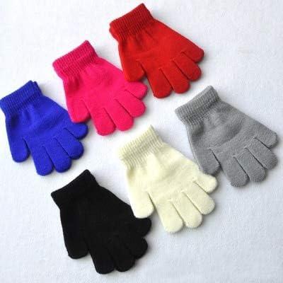 New HOT Winter Kids 15cm Length Solid Warm Knitted Gloves Boys Girls Full Finger Gloves Warm Wool Winter Children Gloves Mittens - (Color:, Gloves Size: 15cm)