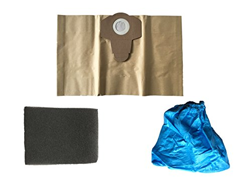 3 teiliges Filter Set passend für Aquavac (by ewt) Nass Trockensauger, 1x 20 Liter Staubsaugerbeutel braun, 1x Nassfilter, 1x Trockenfilter