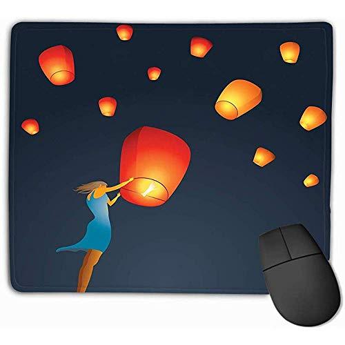 Ergonomisch ontwerp muismat pad, muismat vrouw start rode Chinese hemel lantaarn naar hemel maken wens kleine rechthoek Rubber muismat 25X30Cm