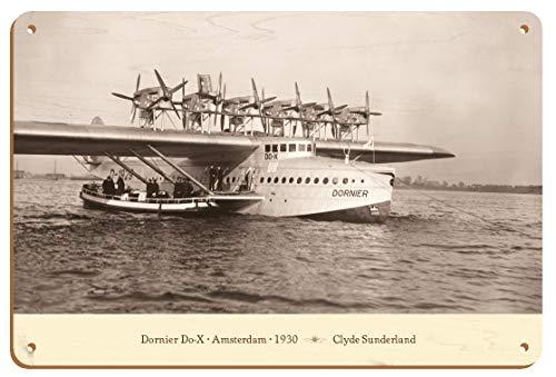 Clyde Sunderland - Póster vintage de madera de Dornier Do-X de Ámsterdam 1930 (20,32 x 30,48 cm)