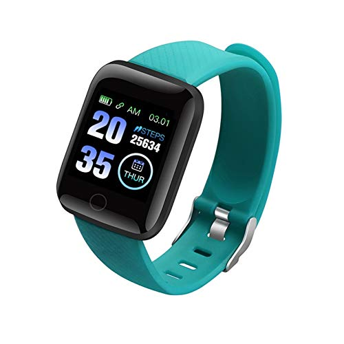 LYB Reloj inteligente para mujer y hombre, para Apple Android Electronics Smart FitnessTracker Monitor de ritmo cardíaco Bluetooth Relojes (color verde)