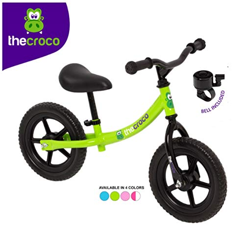 TheCroco Lightweight Balance Bike Basic for Toddlers and Kids… (Green, Basic Model (Steel 6lbs))