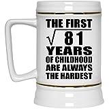 9th Birthday Square Root of 81 Years of Childhood Are Hardest - Beer Stein Jarra de Cerveza, de Cerámica - Regalo para Cumpleaños, Aniversario, Día de Navidad o Día de Acción de Gracias