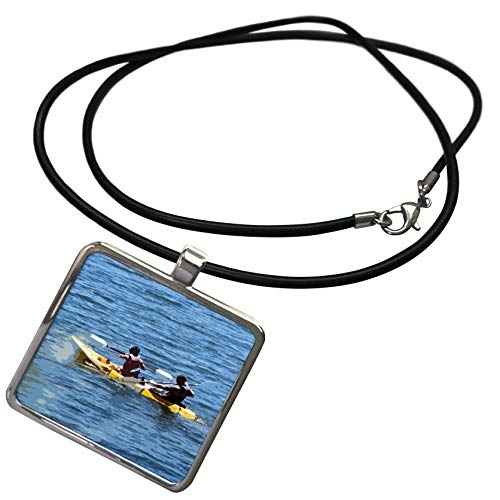 3dRose Jos Fauxtographee- Kayaking - Two People in Their Kayak on The deep Blue Waters of Gunlock - Necklace with Rectangle Pendant (ncl_321953_1)