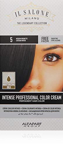 Il Salone Milano Permanent Hair Color Cream - 5 Medium Brunette Hair Dye - Professional Salon - Premium Quality - 100% Gray Coverage - Paraffin Free - Ethyl Alcohol Free - Moisturizing Oils