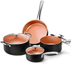 Copper Nonstick Cookware Set - Pans and Pots, All Stove Tops Compatible, Oven-Safe, Multi-Ply, Ceramic Coating, PTFE-free, PFOA-free, Stainless Steel Handle, for Stew Boil Fry and Saute, 7 Piece