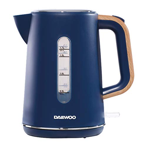 Daewoo Stockholm 1.7L Cordless Kettle Wood Effect Handle   On/Off Switch with Light Indicator   Matte Finish Plastic Body with Chrome Detail   Otter Control   Cordless Design   1850-2200W - Navy Blue