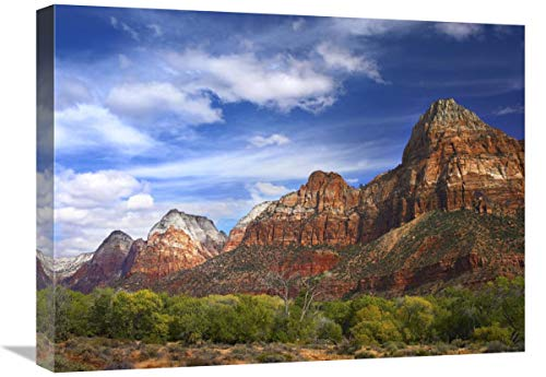 """The Watchman, outcropping near south entrance of Zion National Park, cottonwoods in foreground, Utah-Canvas Art-24""""x18"""""""