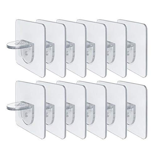 12 Pieces Nail-Free Shelf Support Peg, Punch-Free Wardrobe Partition Holder-Self-Adhesive Shelf Support Hook