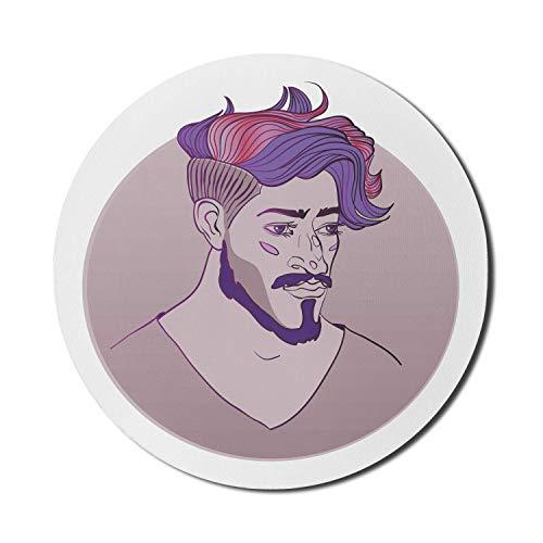 Runde Mausmatte, lila Haar Mauspad für Computer, Porträt Hand gezeichnet wie Bild eines bärtigen jungen Mannes mit buntem Haarschnitt, rundes rutschfestes Gummi Modern Base Mousepad, mehrfarbiges Mous