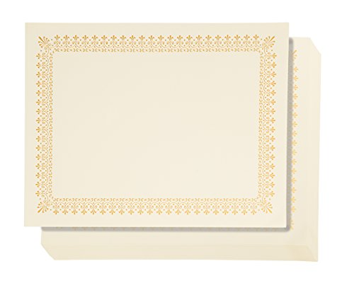 48 Pack Certificate Papers - Letter Size Blank Award Certificates Paper, Gold Foil Border Specialty Recognition Diploma Paper, Laser and Inkjet Printer Friendly, Gold, 8.5 x 11 Inches