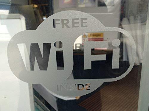 """Pegatina de vinilo con efecto de grabado de """"Wi-Fi free"""" para el interior del cristal. Paquete doble."""