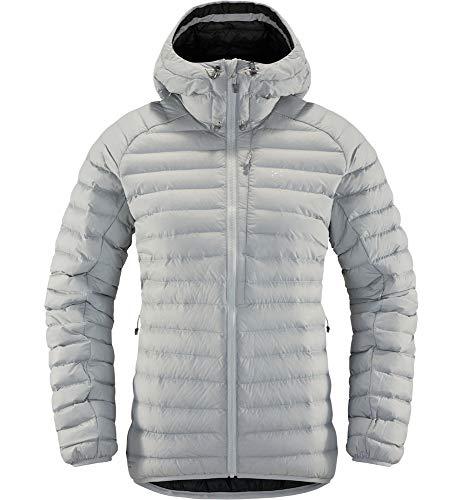 Haglöfs Steppjacke Frauen Essens Mimic Hood wärmend, atmungsaktiv, wasserabweisend Stone Grey L L