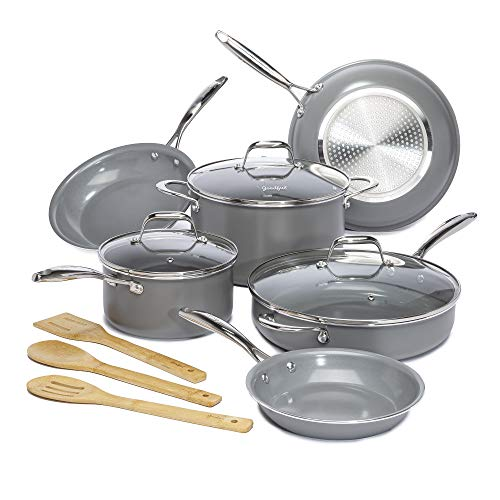 Goodful 12 Piece Cookware Set with Titanium-Reinforced Premium Non-Stick Coating, Dishwasher Safe, Tempered Glass Steam Vented Lids, Stainless Steel Handles, Gray