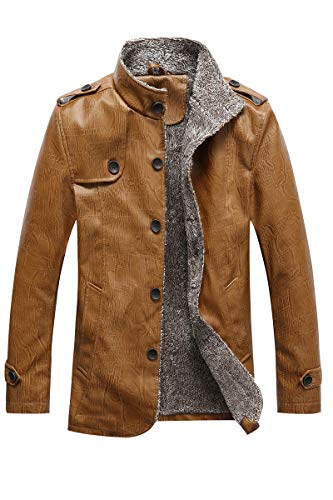 Men's Vintage Fleece Lined Jacket Retro Wimter Warm Plus Size Faux Leather Coat Classic Stand Collar Button Down Long PU Leather Jackets with Pockets, Khaki, 4XL(Fits Like USA L)