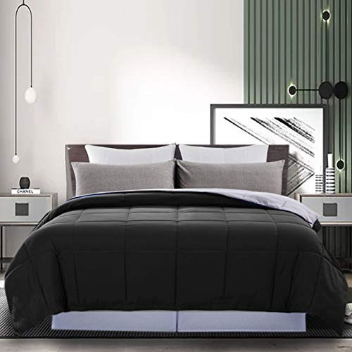 DOWNCOOL Reversible Down Alternative Comforter- All Season Ultra Soft Duvet Insert 4 Loops-Box Stitched- Machine Washable-Black/Grey-Queen
