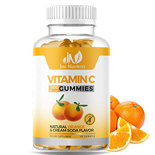 Vitamin C 1000mg Gummies with Zinc & Herbal Extracts – Immune Support for Adults & Kids - Great Tasting Orange Flavor – Gluten Free, Non-GMO – 45 Gummies