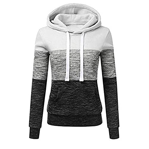 JJTY Suéteres para Mujer Sudaderas con Capucha Ligeras de otoño y Jersey de Empalme de Manga Larga de vellón M White