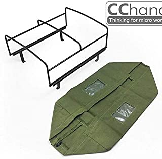 Accessories 1/10 rc Crawler car Decorative Part Bucket Metal Skeleton with Tarpaulin Sets Assembly for 1:10 Toyota killerbody LC70 Hard Body - (Color: Green)